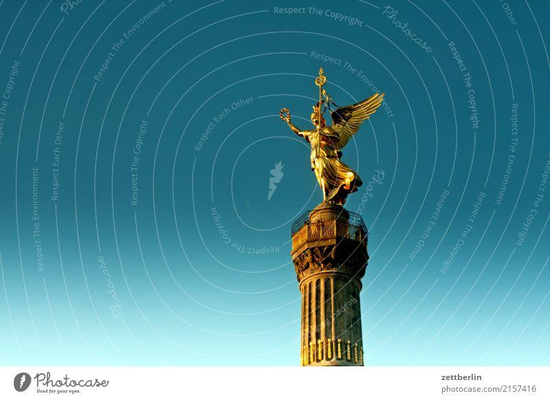 Sky Heaven Berlin Germany Copy Space Transport Body Gold Landmark Capital city Monument Cloudless sky Statue Middle Figure