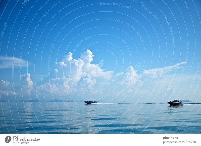 Run boat! Joy Trip Freedom Summer Summer vacation Ocean Nature Landscape Water Sky Clouds Horizon Beautiful weather golf of thailand Boating trip Sport boats