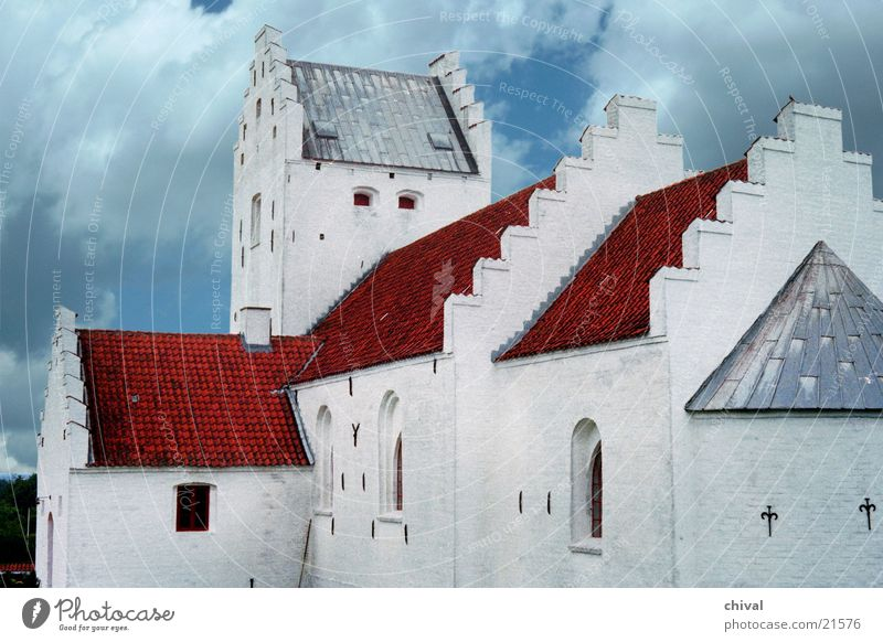 Church in Denmark Roof Stepped roof Church spire Clouds Red White House of worship Religion and faith apse Contrast Sky Blue Stairs