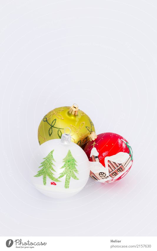 Three Christmas tree balls on white background Design Joy Feasts & Celebrations Christmas & Advent Glass Sign Ornament Sphere Beautiful Multicoloured Green Red