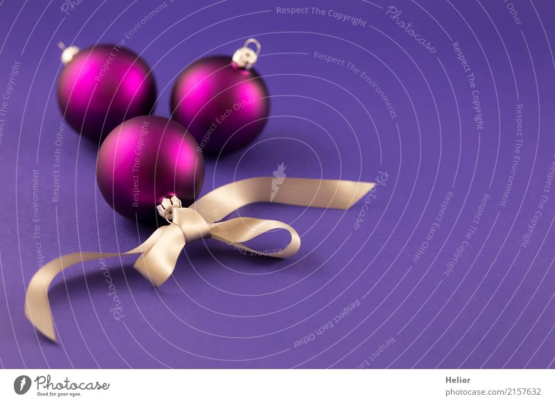 Purple Christmas tree balls with silver ribbon Design Joy Feasts & Celebrations Christmas & Advent Glass Sign Ornament Sphere String Bow Beautiful Violet Silver