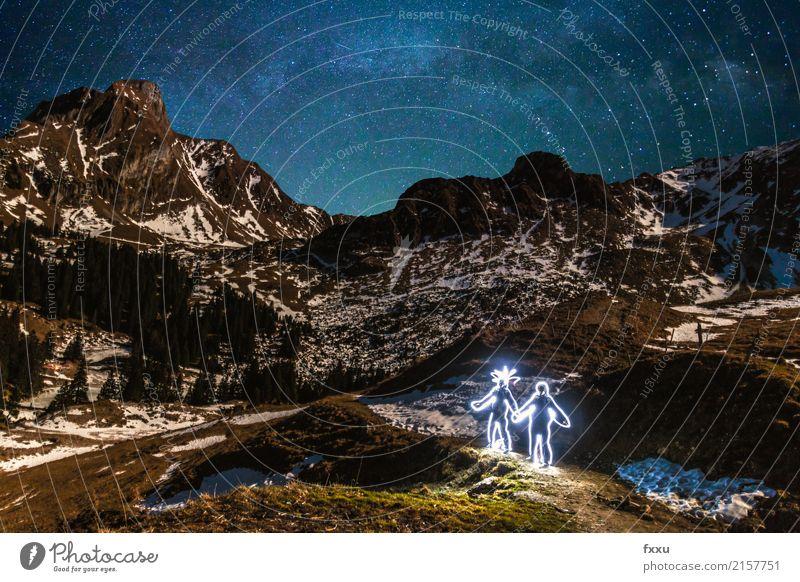 The imaginary friend Invisible Friendship Mountain gantric Switzerland Long exposure Light Stars Sky Winter Cold Couple fantasy friend