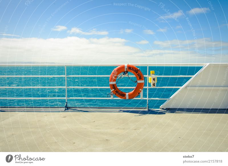 ferry Water Summer Beautiful weather Ocean Ferry Blue Orange White Horizon Rescue Protection Logistics Structures and shapes Kangaroo island Life belt Sun deck