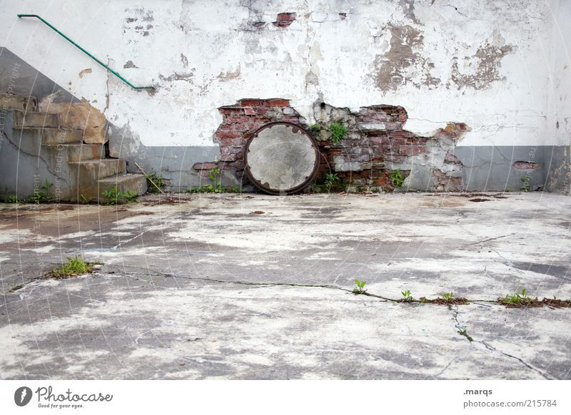 Old Wall (building) Wall (barrier) Concrete Stairs Broken Gloomy Change Transience Manmade structures Decline Ruin Banister Copy Space Backyard Gully