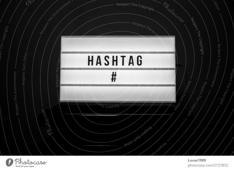 #hashtag hash day diamond Youth (Young adults) Black White Illuminate Lamp Display Internet Word Modern youth language Category Means of communication