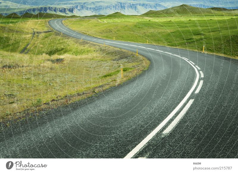 Iceland No.1 Environment Nature Landscape Elements Earth Beautiful weather Meadow Hill Transport Traffic infrastructure Road traffic Street Lanes & trails Line