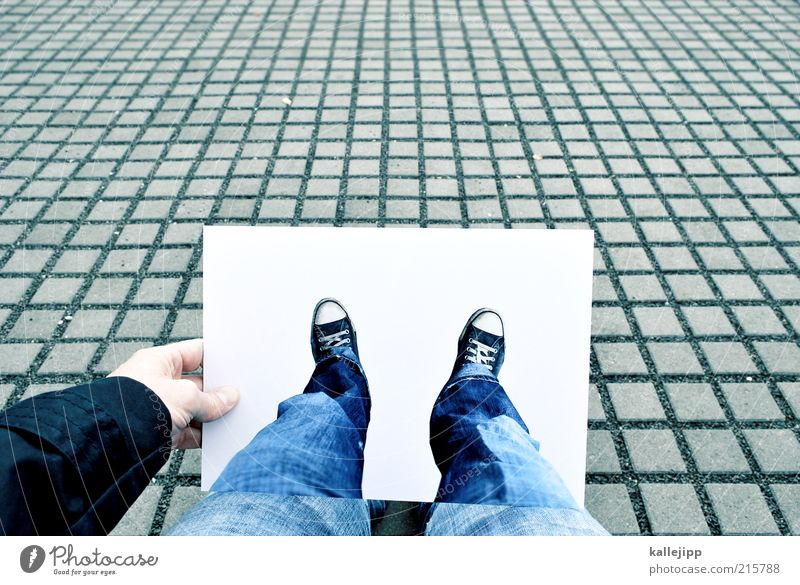 exempt Human being Legs Feet 1 Grid Deception Chucks Jeans Stop Paper DIN a4 Expression Image Perspective Ego Colour photo Subdued colour Exterior shot