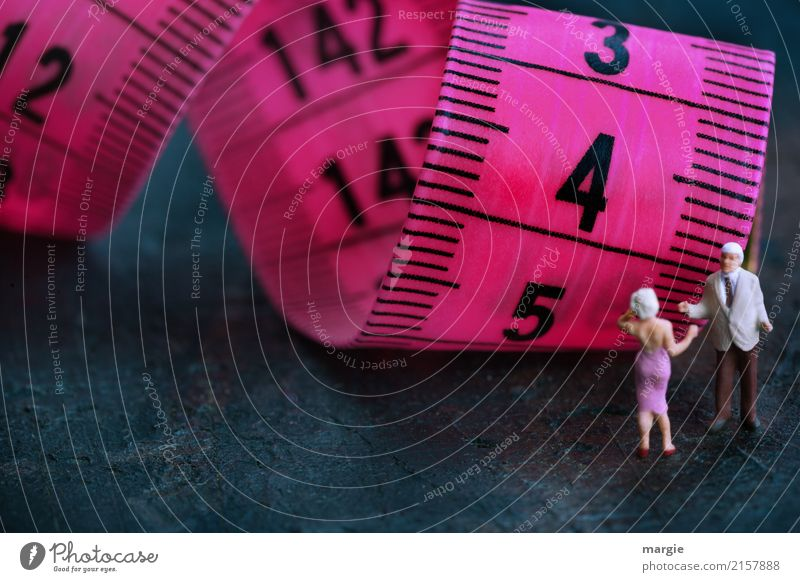 Slim down. Human being Masculine Feminine Woman Adults Man 2 Fashion Clothing Violet Centimeter Tape measure Diet Overweight Thin Measure Data display Miniature