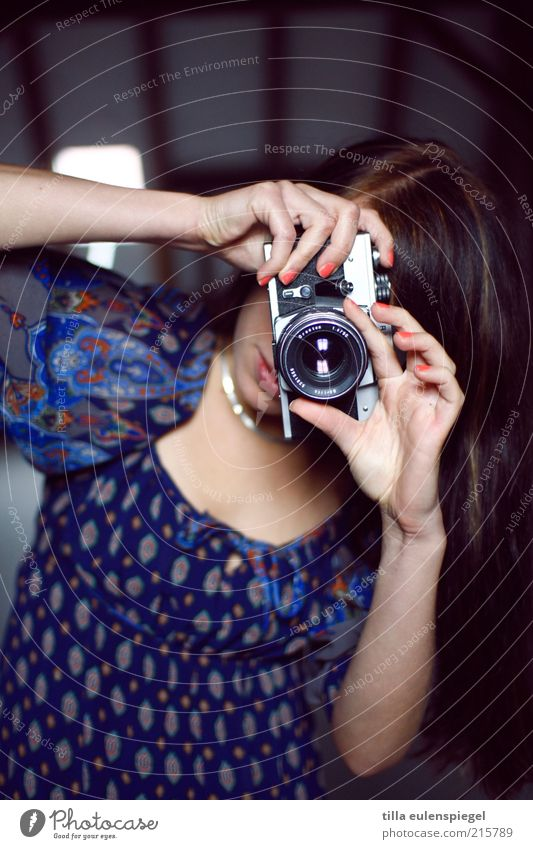Human being Youth (Young adults) Feminine Work and employment Leisure and hobbies Camera Analog Brunette Long-haired Expectation Young woman Photographer Artist