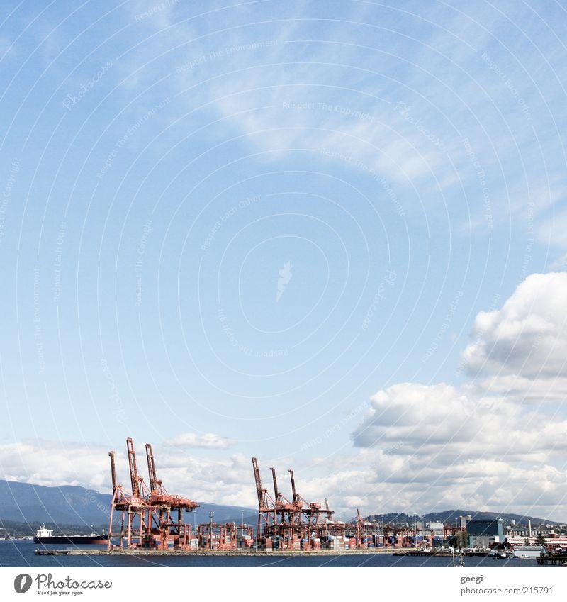 cargo port Water Sky Clouds Vancouver Canada Americas Port City Harbour Navigation Container Crane Logistics Colour photo Exterior shot Copy Space left Day Town