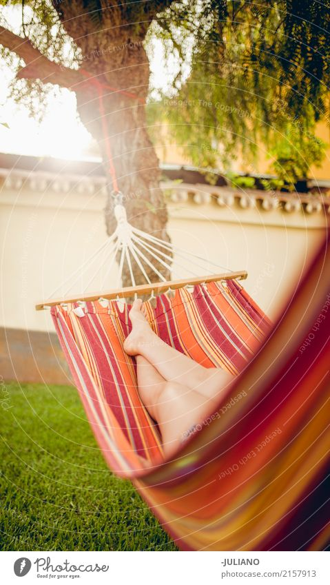 Girl is relaxing in a hammock Lifestyle Beautiful Healthy Wellness Harmonious Well-being Contentment Relaxation Calm Vacation & Travel Summer Summer vacation