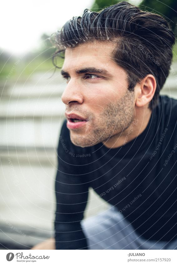 Portrait of Sportsman with sweaty hairs after tough workout Nutrition Lifestyle Beautiful Body Skin Fitness Sports Training Track and Field Sportsperson Stands
