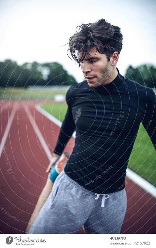 Man is doing stretching and warm up for intense sports workout Drinking water Lifestyle Joy Body Hair and hairstyles Healthy Health care Healthy Eating Athletic