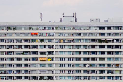 Beautiful living meets record Style Summer Downtown Berlin Prefab construction Facade Stripe Authentic Hideous Retro Gloomy Gray Symmetry GDR Building
