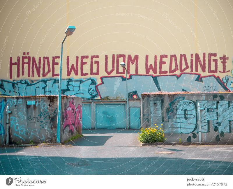 Call hands off the Wedding Subculture Street art Graffiti Garage Wall (building) Fire wall Street lighting Characters Authentic Uniqueness Rebellious Town