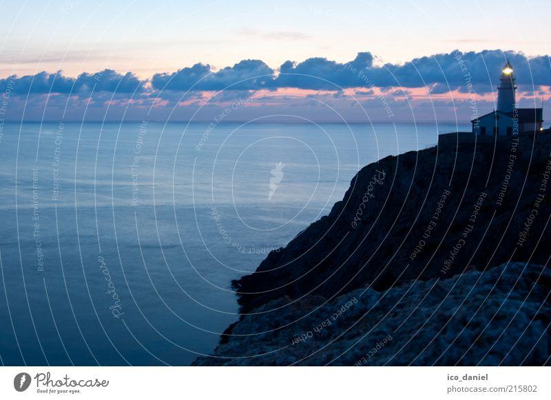at dawn... Nature Landscape Elements Water Sky Clouds Horizon Sunrise Sunset Beautiful weather Rock Bay Ocean Mediterranean sea Island Majorca Cala Ratjada