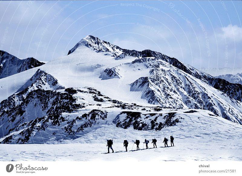 Winter Snow Mountain Hiking Rock Skiing Alps Winter sports Federal State of Tyrol Ski tour Ötz Valley Hiking group