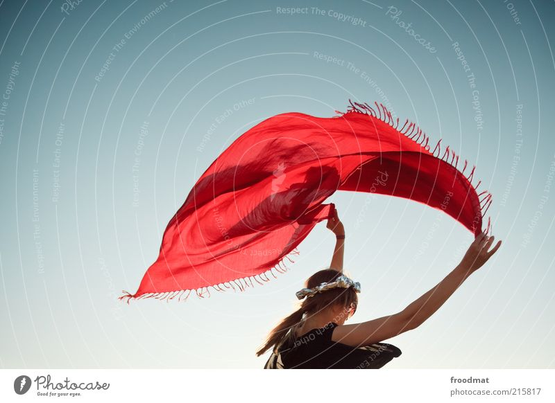 Woman Human being Youth (Young adults) Red Joy Feminine Style Dream Contentment Adults Wind Elegant Lifestyle Retro