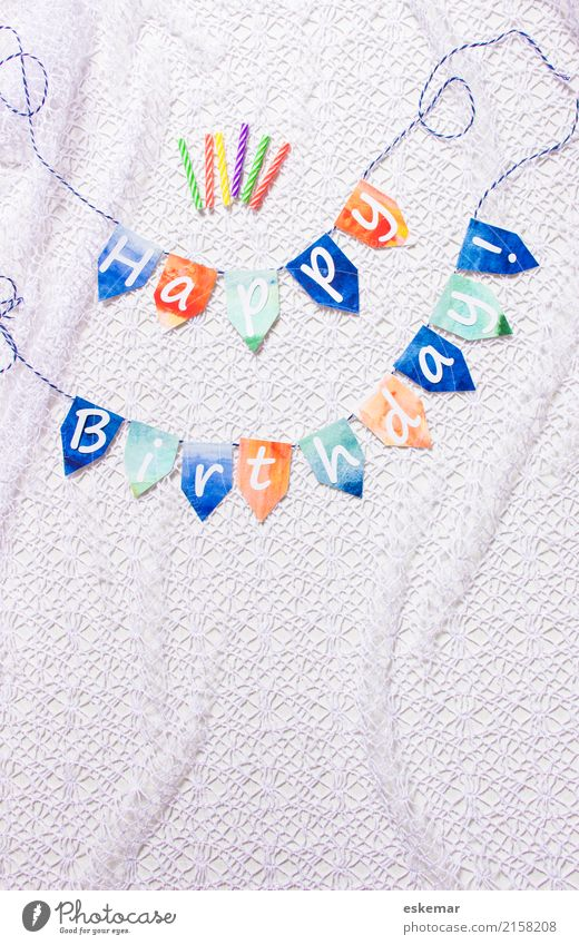 Happy Birthday Feasts & Celebrations Decoration Candle Sign Characters Flag Paper chain Retro Blue Orange White Colour photo Multicoloured Interior shot