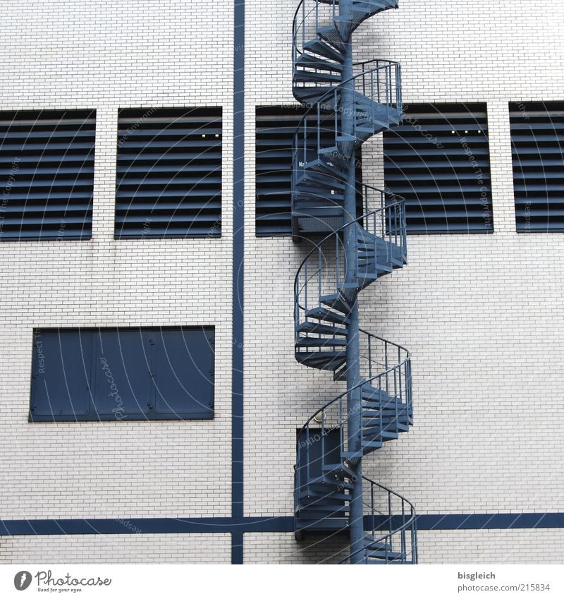 upward Building Stairs Window Winding staircase Wall (building) Metal Blue Target Colour photo Subdued colour Exterior shot Deserted Day Facade Factory