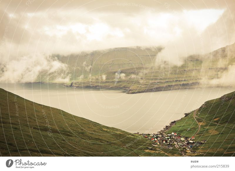 Faroe Islands Vacation & Travel Tourism Environment Nature Landscape Elements Water Clouds Climate Climate change Weather Fog Meadow Hill Rock Mountain Coast