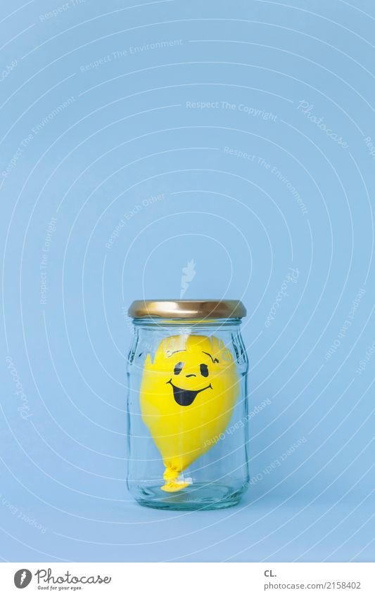 Party mood, preserved. Glass Feasts & Celebrations Birthday Balloon Sign Laughter Wait Happiness Positive Blue Yellow Emotions Joy Happy Contentment