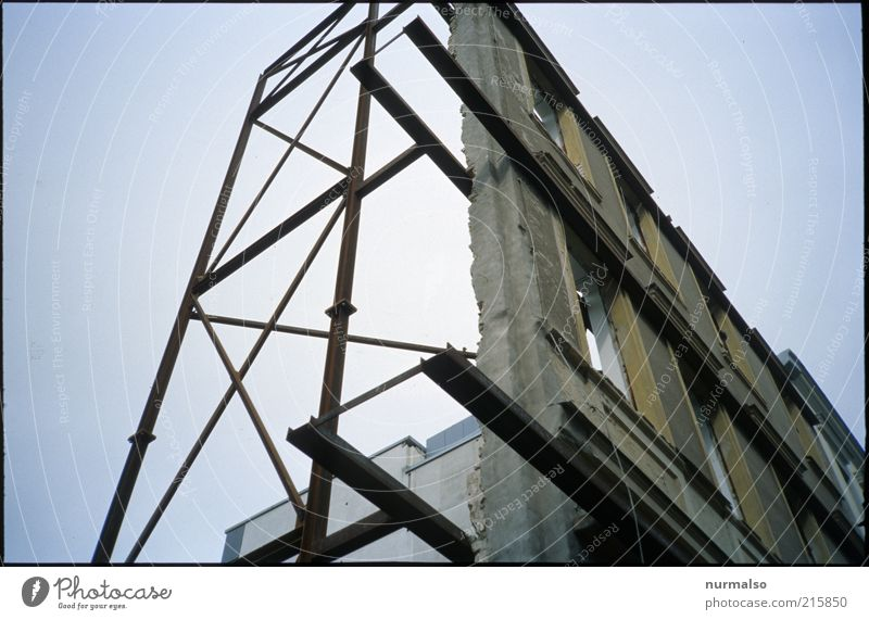 nothing behind Technology Scaffolding Environment Building Architecture Window Sign Sharp-edged Firm Facade Frontal Prop Empty Redevelop Dismantling