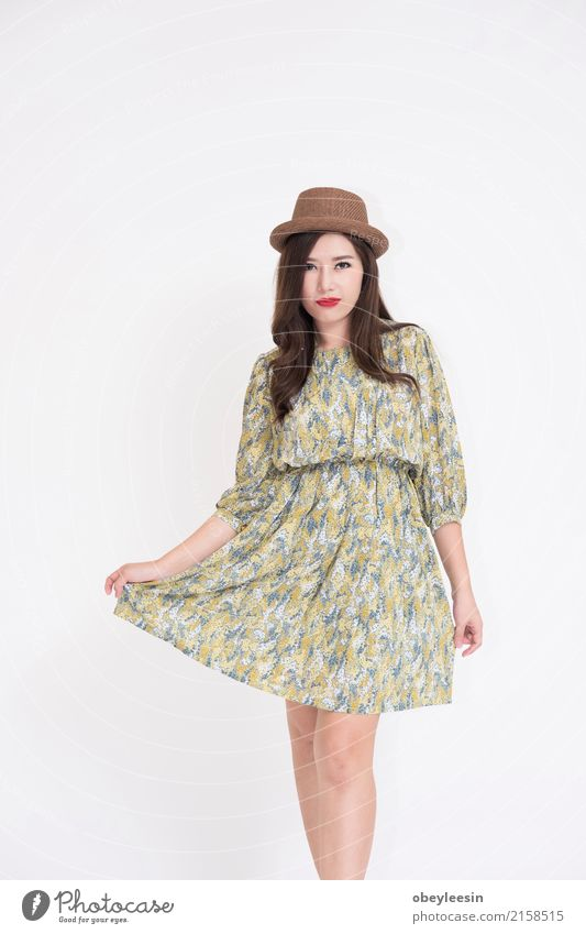 Beautiful young Asian woman Lifestyle Elegant Style Happy Vacation & Travel Summer Camera Technology Woman Adults Fashion Dress Old Smiling Cute Retro Blue