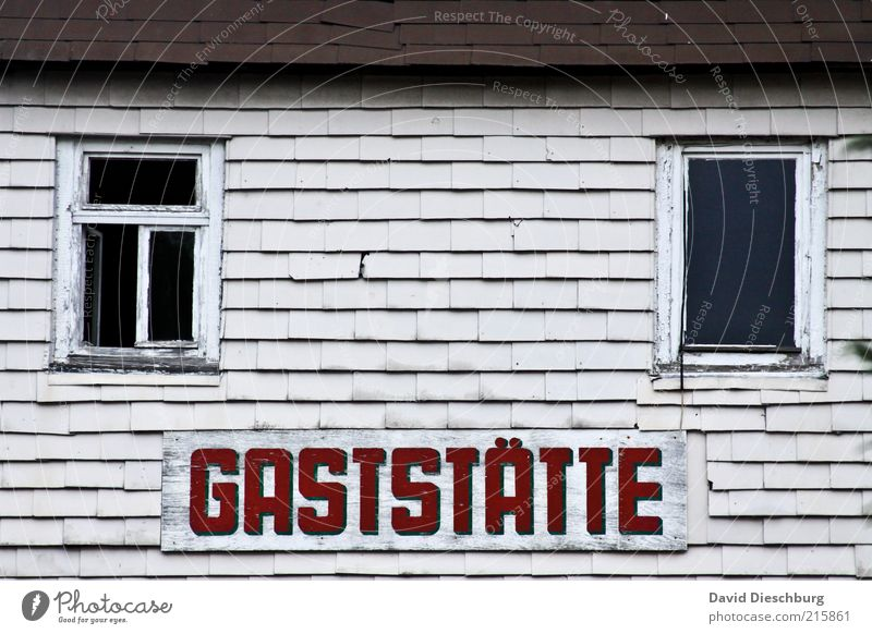 White Red House (Residential Structure) Window Gray Building Open Facade Signs and labeling Change Manmade structures Gastronomy Decline Restaurant Shabby