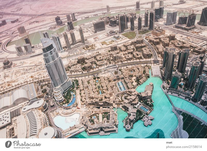 Dubai from above II Beautiful weather Warmth Drought Desert United Arab Emirates Asia Town Capital city Populated High-rise Bank building Architecture