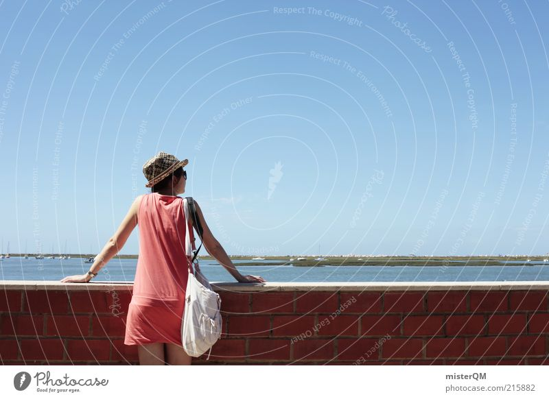 Woman Human being Youth (Young adults) Ocean Vacation & Travel Far-off places Relaxation Feminine Wall (building) Freedom Wall (barrier) Think Contentment