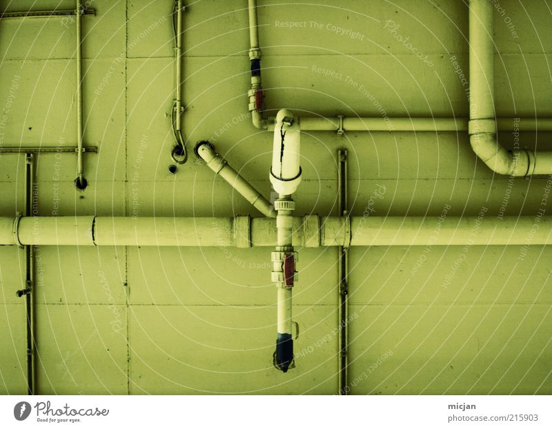 Green Yellow Wall (building) Wall (barrier) Building Metal Facade Concrete Arrangement Network Future Factory Plastic Pipe Iron-pipe Muddled