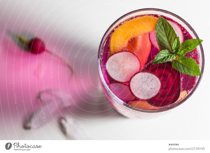 Vitamin water with radish, beetroot, nectarine and mint Fruit Herbs and spices Mint Radish Red beet Nectarine Ice cube Organic produce Vegetarian diet Diet