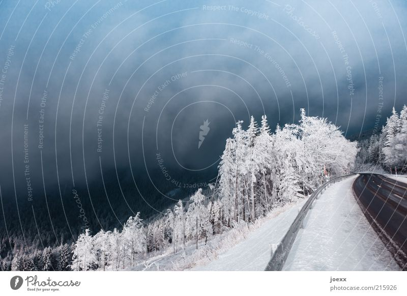 Sky Winter Clouds Street Forest Cold Snow Mountain Lanes & trails Ice Fog Environment Frost Snowscape Slope Roadside