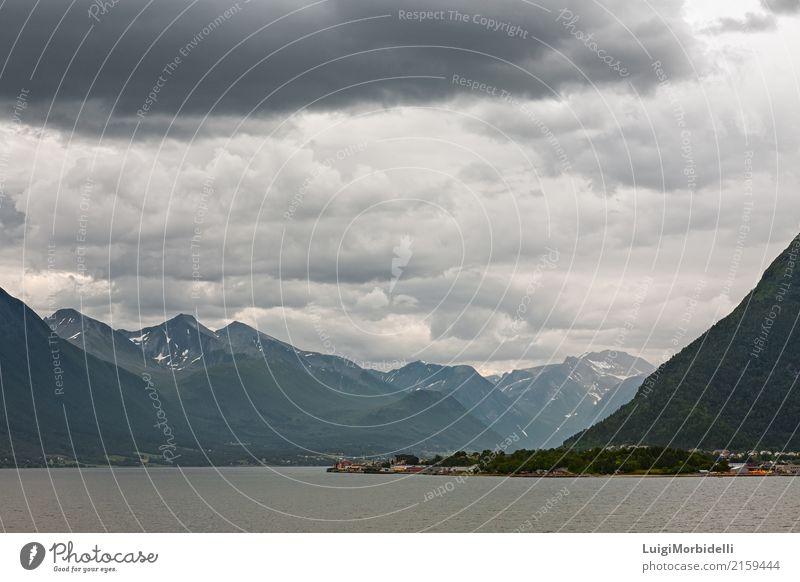 Along the Romsdalsfjorden near Andalsnes, Norway Vacation & Travel Tourism Trip Summer Ocean Mountain Nature Landscape Sky Clouds Bad weather Coast Fjord