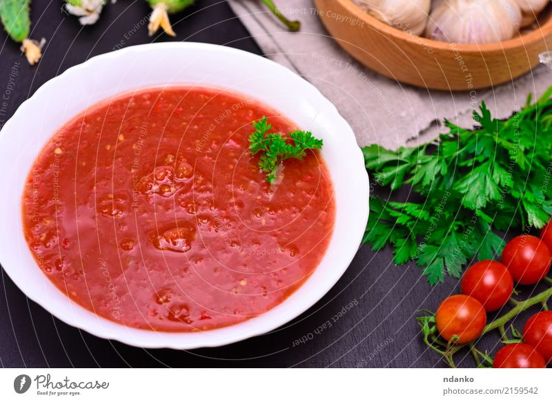 cold tomato soup gazpacho Vegetable Soup Stew Herbs and spices Nutrition Lunch Dinner Vegetarian diet Diet Plate Table Kitchen Wood Fat Fresh Delicious Green