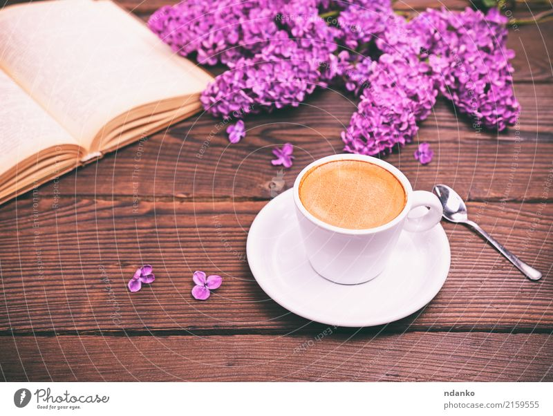 Espresso coffee in a white cup Breakfast Coffee Spoon Table Restaurant Book Flower Paper Bouquet Wood Fresh Hot Above Retro Black White Café drink