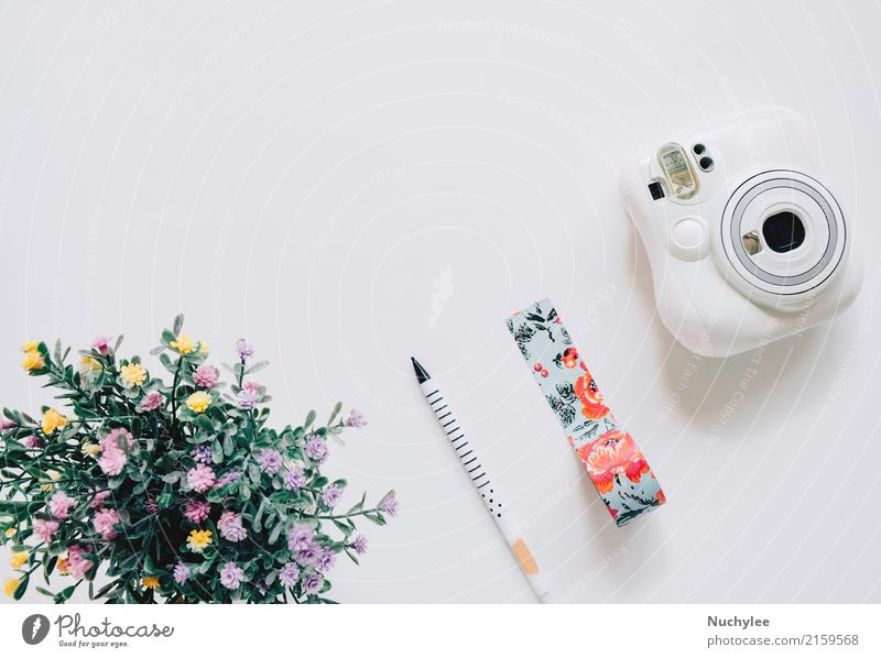Creative Flat lay craft style Lifestyle Style Design Joy Summer Decoration Craft (trade) Camera Art Nature Flower Fashion Pen Bright Hip & trendy Cute White