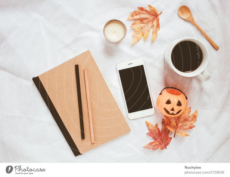 Autumn and halloween concept Coffee Spoon Lifestyle Style Design Decoration Thanksgiving Hallowe'en Craft (trade) Cellphone PDA Technology Art Warmth Leaf