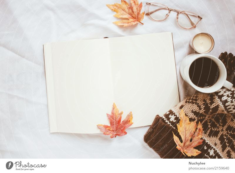 Autumn lifestyle concept Coffee Lifestyle Style Design Decoration Thanksgiving Craft (trade) Art Book Warmth Leaf Fashion Eyeglasses Hat Paper Candle Modern