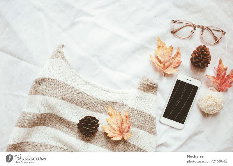 Autumn fashion style concept White Leaf Warmth Lifestyle Style Art Fashion Design Modern Decoration Technology Vantage point Creativity Eyeglasses Coffee