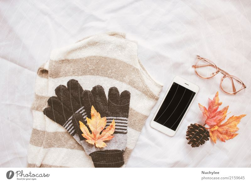 Autumn fashion style concept Coffee Lifestyle Style Design Decoration Thanksgiving Craft (trade) Cellphone PDA Technology Art Warmth Leaf Fashion Sweater