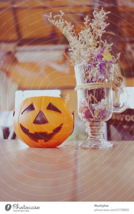 Pumpkin for halloween Flower Style Feasts & Celebrations Design Copy Space Retro Decoration Table Symbols and metaphors Seasons Restaurant Café Hallowe'en
