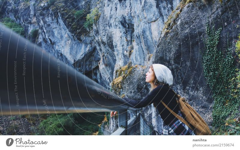 Young woman enjoying a mountains landscape Lifestyle Wellness Harmonious Calm Vacation & Travel Tourism Adventure Freedom Expedition Hiking Human being Feminine