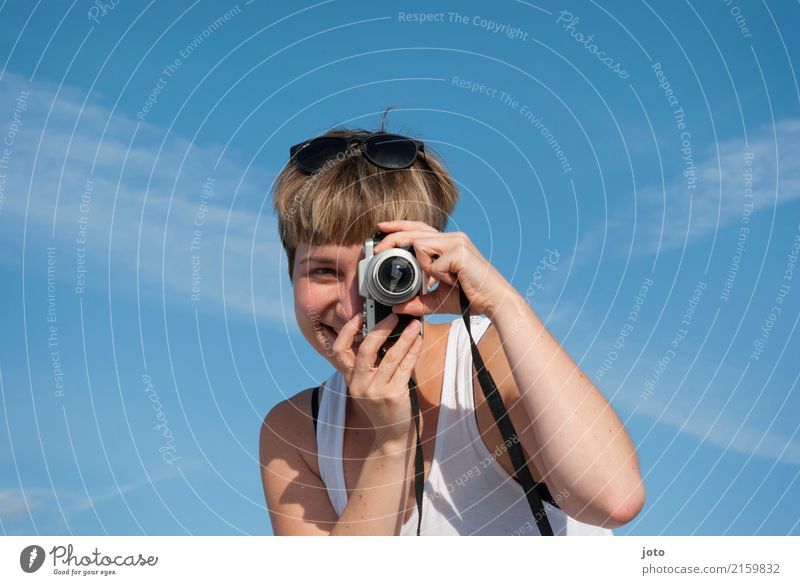 In focus Joy Happy Life Contentment Leisure and hobbies Vacation & Travel Tourism Trip Sightseeing Summer Summer vacation Camera Young woman