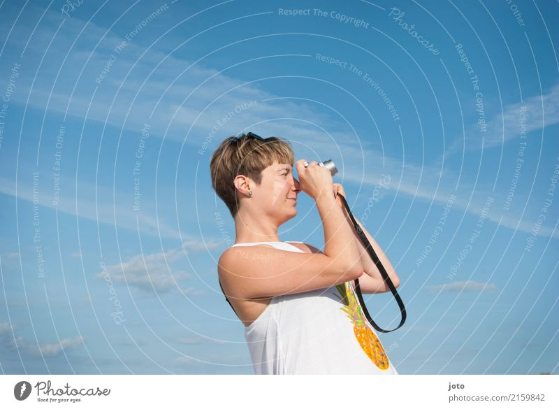 photographer pose Joy Life Contentment Leisure and hobbies Vacation & Travel Tourism Trip Freedom Sightseeing Summer Summer vacation Camera Young woman