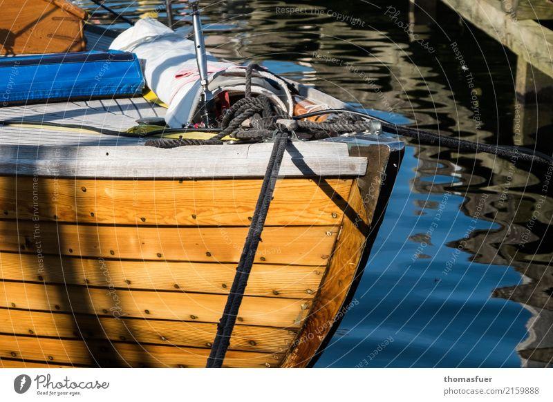 sailboat, bow, folkboat Vacation & Travel Freedom Summer Sun Ocean Aquatics Sailing Water Coast Fishing village Port City Sport boats Sailboat Harbour Wood