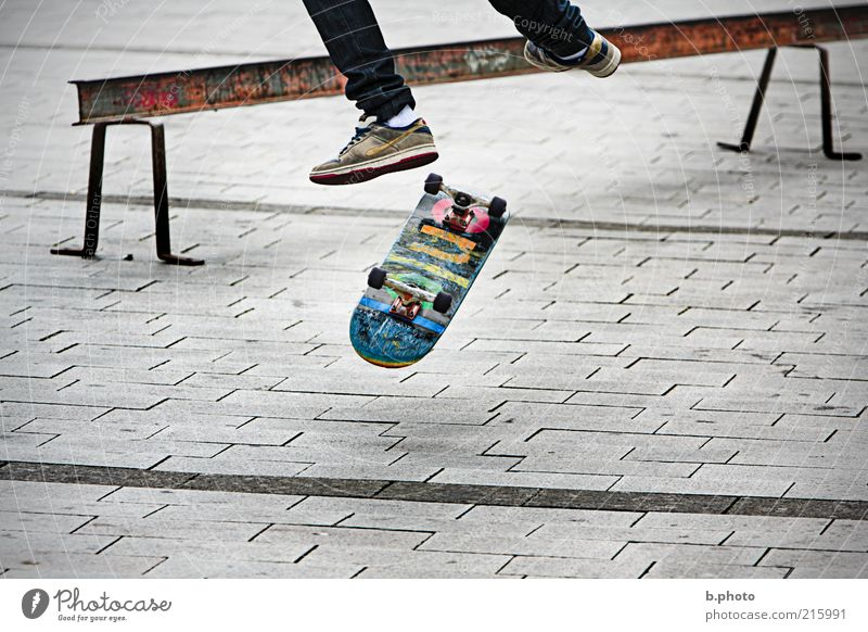 in the air Sports Skateboard Skateboarding Human being Youth (Young adults) Legs Feet 1 Places Playing Jump Exceptional Athletic Multicoloured Gray Joy Freedom