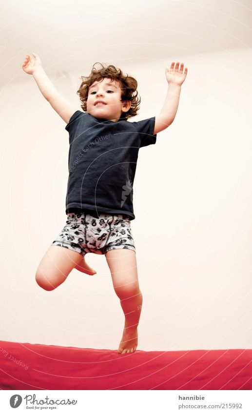Human being Child Blue White Red Joy Life Freedom Boy (child) Movement Jump Funny Healthy Infancy Wild Masculine