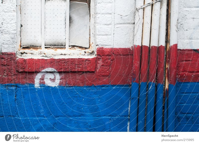 Patriotism in Soho House (Residential Structure) Wall (barrier) Wall (building) Window Blue Red White Colour Brick Conduit Pipe Colour photo Exterior shot